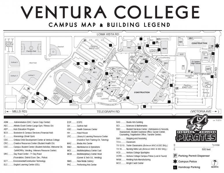 oxnard college campus map Handicap Parking Map Ventura College oxnard college campus map