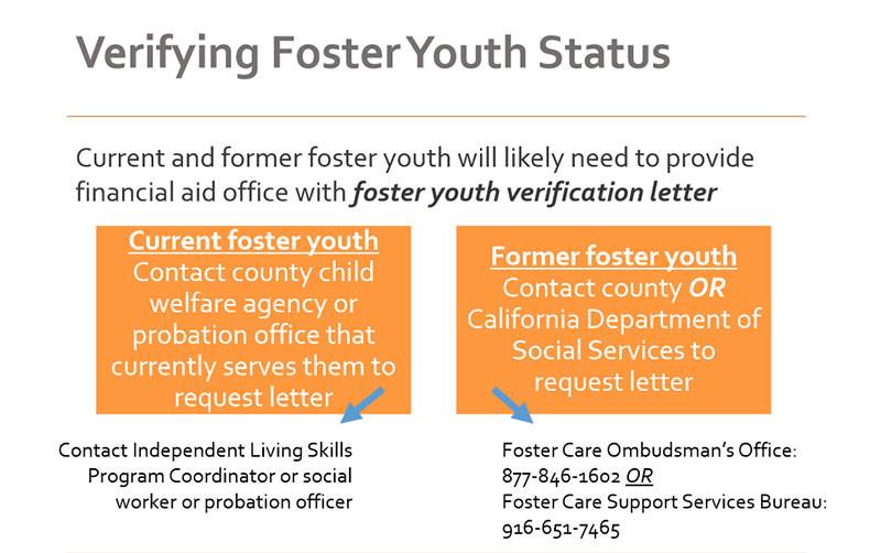 Verifying Foster Youth Status: Current and former foster you