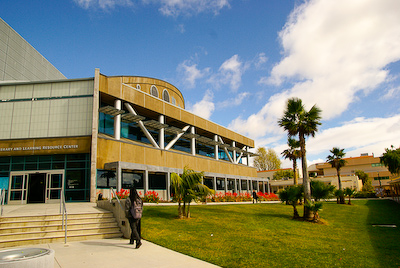 Wide angle view of the Ventura College Library and Learning Resource Building