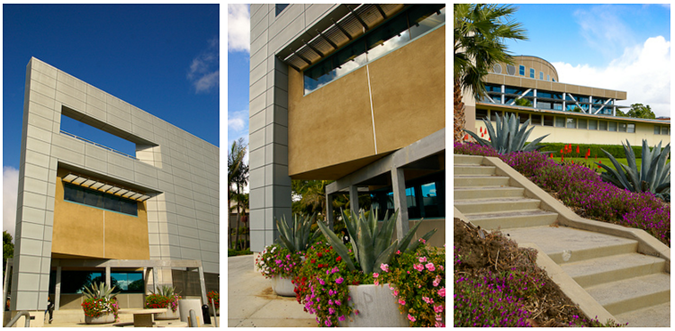 3 decorative images taken of the VC Library and Learning Center building and surrounding architecture.