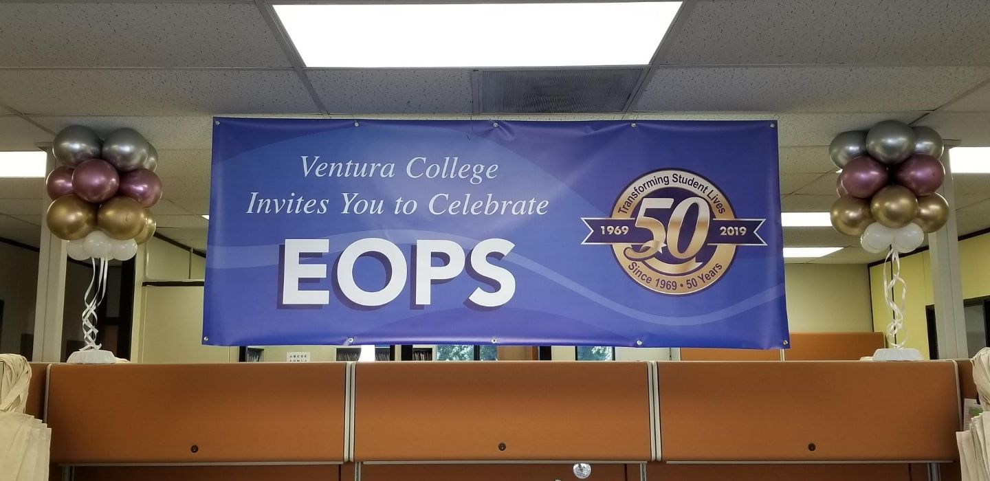 Blue EOPS Anniversary Banner Celebrating 50 Years