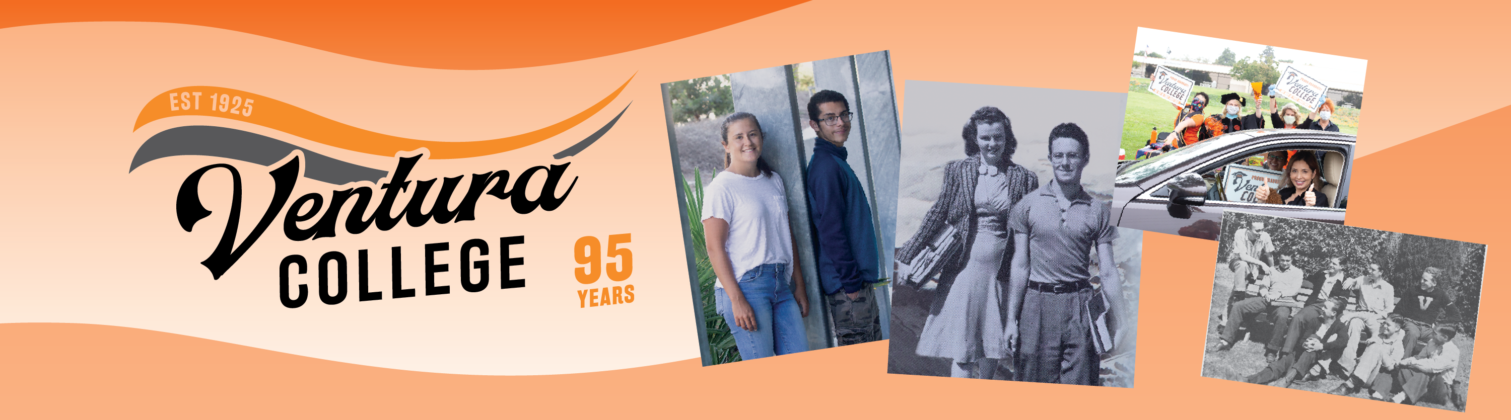 ventura college logo with historical photos of students
