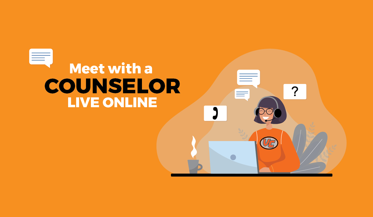Graphic of a Counselor assisting someone online