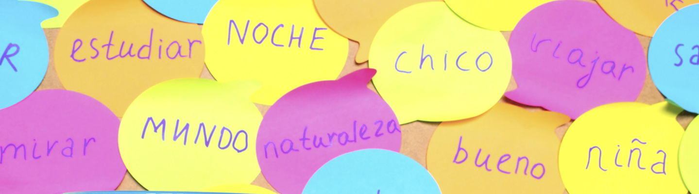 Several post it notes with spanish language words written on them.