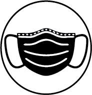 Graphic of a Face Mask in a circle icon