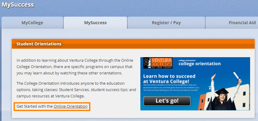 "Click on ""Get Started with the Online Orientation"""