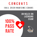 [Red and gray graphic congratulating nursing students on a 100% pass rate on RN licensing exam. Red heart with white medical cross inside.]