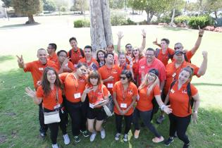 Group of Ventura College Students at FYE Orientation, text below reads: Students, Discover Support Services, and Student Life