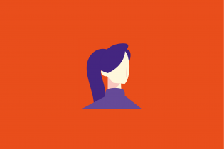 Person with hair in ponytail icon