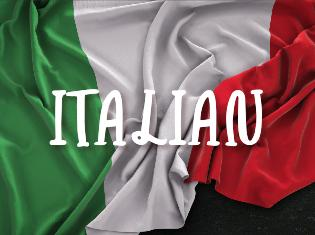 "The Italian flag with the word ""Italian"" overlaid on top."