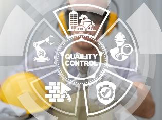 "An infographic that says ""Quality Control"" in the center, surrounded by construction icons."