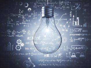 A lightbulb in front of several mathematical equations.