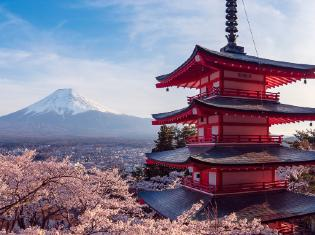 A Japanese pagoda with a view of mount Fuji.