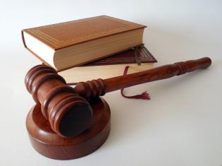 Stock photo of gavel and law books