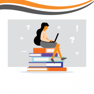 Graphic of a Female Student sitting on books looking at a Laptop