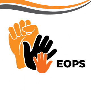 Graphic of a Fist and Two Waving Hands with text that reads EOPS