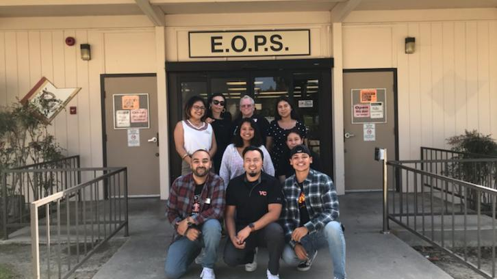 Ventura College EOPS Office Staff, 3 males and 6 females in front of the EOPS building